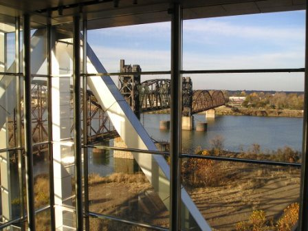 Looking out from the Clinton Presidential Library, Little Rock, Arkansas.